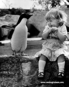 Notou como ela nem percebeu que ele é um pinguim?
