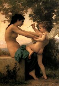 Jovem defendendo-se de Eros. Pintura de Bouguereau (1825–1905).